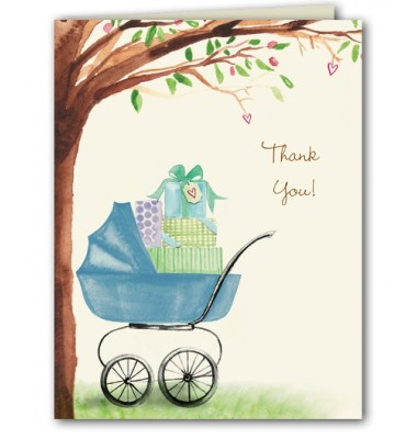 Baby Shower Thank You Cards, Bassinet Blue, Bonnie Marcus