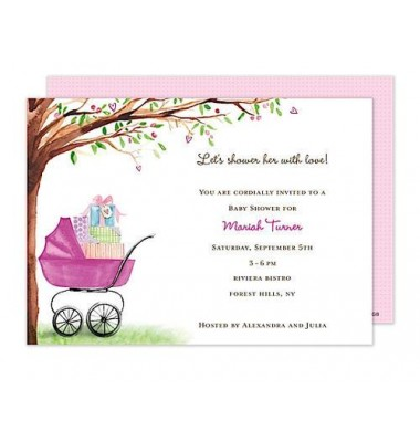 Baby Shower Invitations, Bassinet Pink