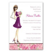 Bridal Shower Invitations, Floral Bride Brunette, Bonnie Marcus