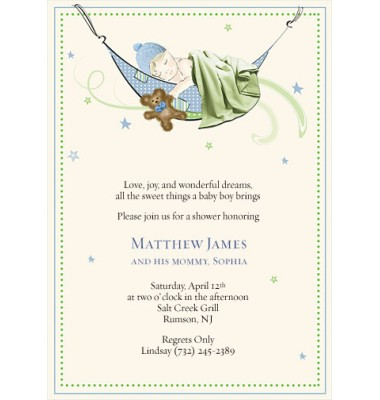 Baby Shower Invitations, Naping Boy, Bubbles N Bows