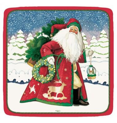 Caspari, Holiday Dessert Plates, Snowflake Santa