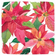 Caspari, Holiday Dessert Plates, Poinsettia Painting