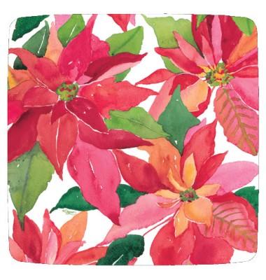 Caspari, Holiday Dessert Plates, Poinsettia Painting