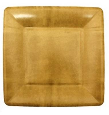Caspari, Dessert Plates, Gold Square