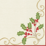 Christmas Cocktail Beverage Napkins, Embroidery Paper Linen, Caspari