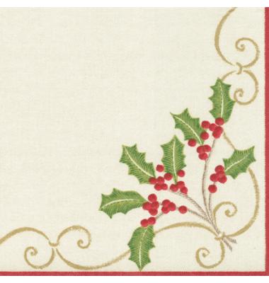 Christmas Cocktail Beverage Napkins, Embroidery Paper Linen, Caspari