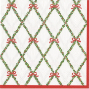 Christmas Cocktail Beverage Napkins, Garland Trellis, Caspari