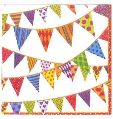 Caspari Beverage Napkins, Festive Flags