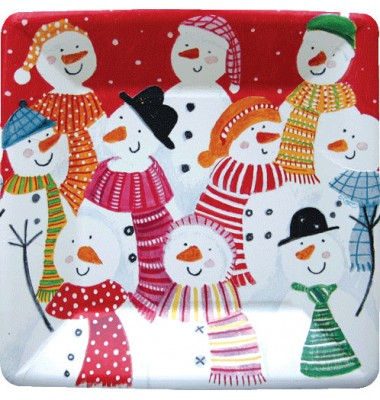 Caspari, Holiday Dessert Plates, Frosty Folks