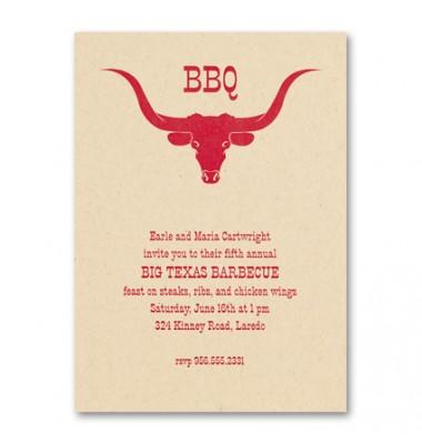 BBQ Invitations, Longhorn, Checkerboard