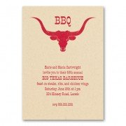 BBQ Invitations, Longhorn, Checkerboard