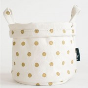 Metallic Polka Dots Large Canvas Bucket