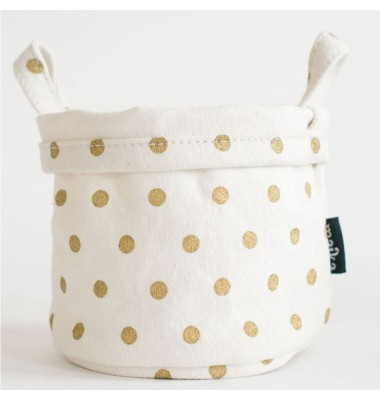 Metallic Polka Dots Small Canvas Bucket