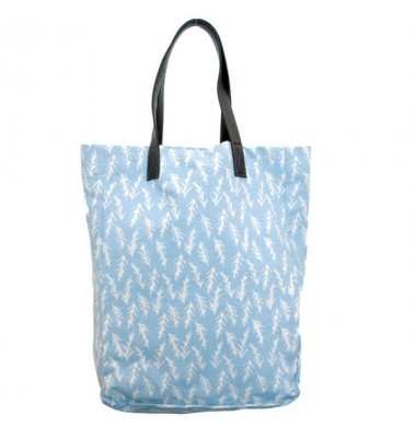 Blue Linen Tote with Leather Straps