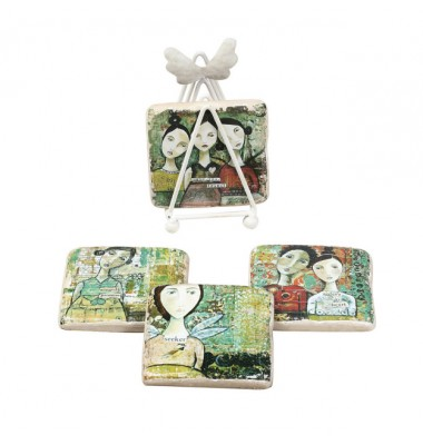 Angel Coasters With Easel, Creative Co op