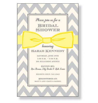 Shower Invitations, Yellow Bow On Gray