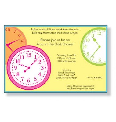 Around The Clock Shower Invitations, Clocks, Inviting Company