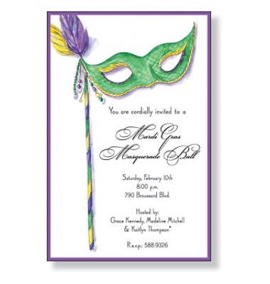 Mardi Gras Invitations, Green Mask, Inviting Company