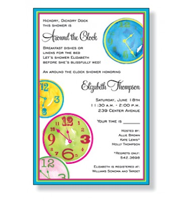 Around The Clock Shower Invitations, Crazy Clocks by Inviting Company