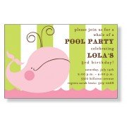 Pool Party Invitations, Pink Whale, Inviting Company