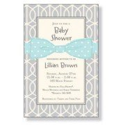 Shower Invitations, Blue Bow On Grey, Inviting Company