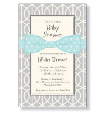 Baby Shower Invitations, Blue Bow On Gray, Inviting Company