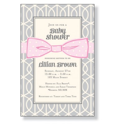 Baby Shower Invitations, Pink Bow On Gray