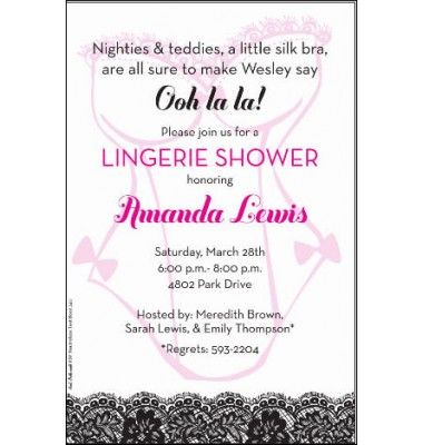 Lingerie Invitations,  Lacy Teddy, Inviting Company