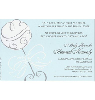 Baby Shower Invitations, Swirl Rattle Blue, Inviting Company