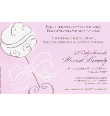 Baby Shower Invitations, Swirl Rattle Pink, Inviting Company