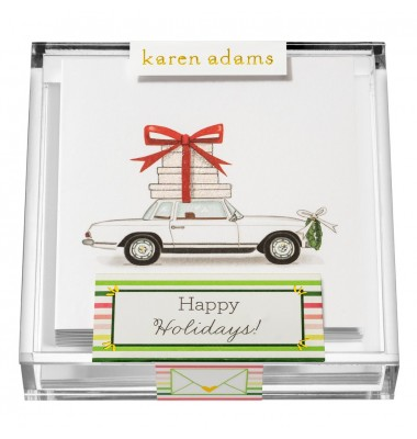Holiday Gift Enclosure, Happy Holidays in Acrylic Box, Karen Adams
