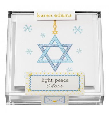 Holiday Gift Enclosure, Light, Peace & Love in Acrylic Box, Karen Adams