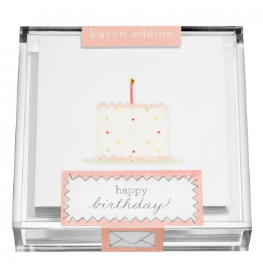 Gift Enclosure, Birthday Cake in Acrylic Box, Karen Adams