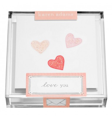 Gift Enclosure, Hearts in Acrylic Box, Karen Adams