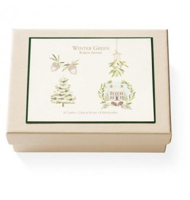 Boxed Note Cards, Winter Green, Karen Adams