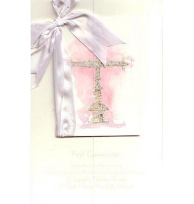 Baptism Invitations, Silver Cross Pink, Odd Balls