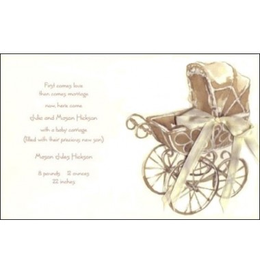 Baby Shower Invitations, Antique Wicker Carriage, Odd Balls