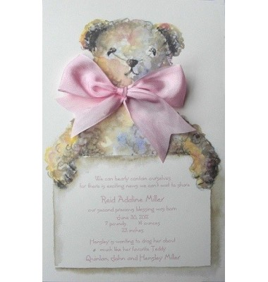 Baby Shower Invitations, Tebbie Bear Pink, Odd Balls