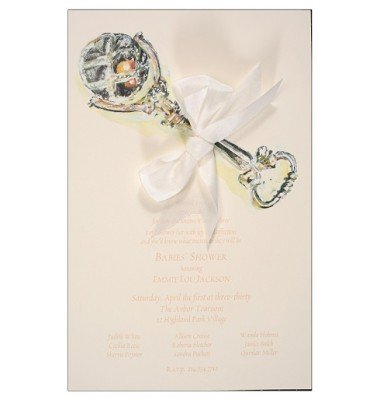 Baby Shower Invitations, Silver Rattle, Odd Balls