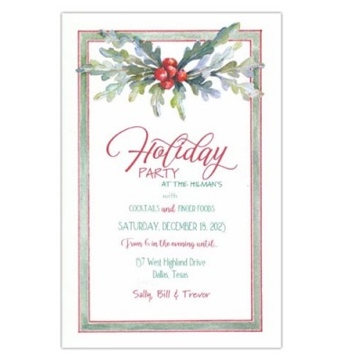 Christmas Invitations, Moss Silver Spray, Odd Balls