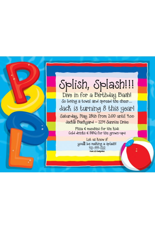 Party Invitations Theme Party Invitations Pool Party – Invitations for a Pool Party