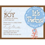 Twin Baby Shower Invitations, Its Twins, Boy, Paper So Pretty
