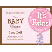 Twin Baby Shower Invitations, Its Twins, Girl, Paper So Pretty