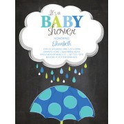 Baby Shower Invitations, Chalk Board Umbrella Blue, Paper So Pretty