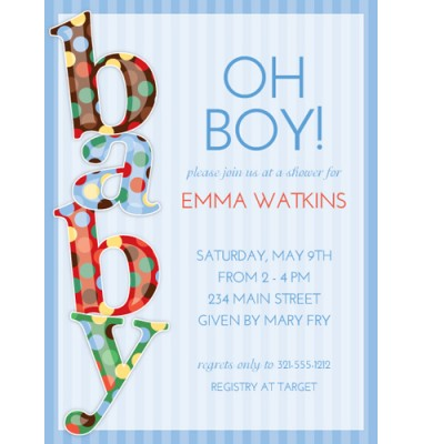 Baby Shower Invitations, Baby Dot Blue, Paper So Pretty