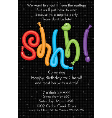 Surprise Party Invitations, Shhh On Black, Paper So Pretty