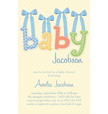 Baby Shower Invitations, Baby Bows Blue, Paper So Pretty