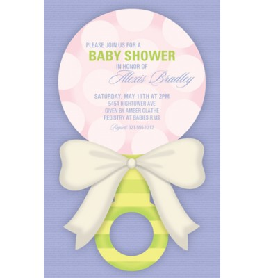 Baby Shower Invitations, Sweet Rattle Pink, Paper So Pretty