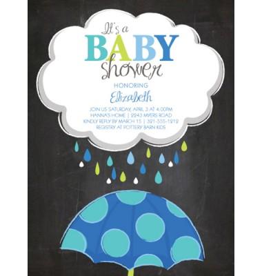 Baby Shower Invitations, Chalk Board Umbrella Blue, Paper So Pretty