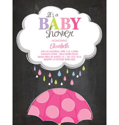 Baby Shower Invitations, Chalk Board Umbrella Pink, Paper So Pretty